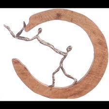 gilde dekofigur skulptur parents silberfarben natur dekoobjekt höhe 32 handgefertigt aus metall und holz wohnzimmer