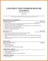 Admirable Construction Worker Resume TomyumtumwebCom