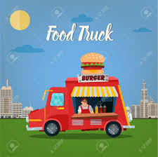 100 Burger Food Truck Street Concept With And Seller In The