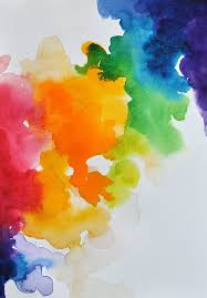 ORIGINAL Watercolor Original Abstract Painting Rainbow Colored Bright Wall Art 6x8 Inch