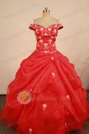 Luxurious Ball Gown Off The Shoulder Neck Floor Length Red Vintage Quinceanera Dresses Style FA W 30