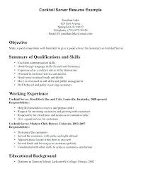 Waitress Resume Objective For Example Restaurant Objectives