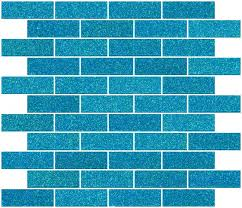 inch cerulean blue glitter glass subway tile