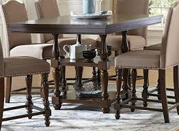 Benwick Dark Cherry Wood Storage Counter Height Dining Table