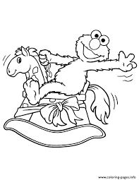 Elmo Riding Rocking Horse Coloring Page Pages