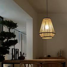minimalismus pendelle aus bambus für esszimmer