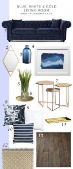 blau weiß und gold wohnzimmer blaues sofa blaues