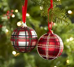 Plaid Sparkle Ball Ornament