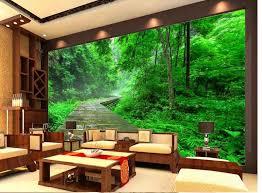 3d wandbilder wallpaper für wohnzimmer grün stein treppen