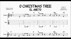 O Christmas Tree In F Major Tabs Sheet Music For Guitar With Chords El Abeto