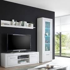 lomadox tv wand chile 61 wohnwand kombination in hochglanz weiß modernes und zeitloses design mit led beleuchtung b h t ca 228 201 43 cm