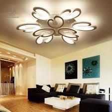 white fashion flower modern led ceiling light living room rc