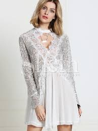white long sleeve with lace dress shein sheinside