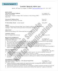 Usc School Of Social Work Resume by Social Work Resume Templates 63 Images 9 Social Worker