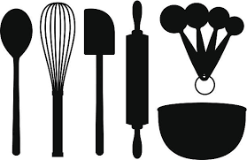 Baking Supplies Silhouettes vector art illustration