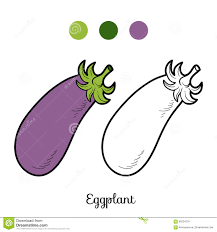 Coloring Book Fruits And Vegetables Eggplant