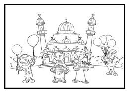Kids Enjoying Eid Coloring Pages