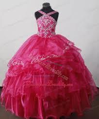brand new pink ruffled beaded little girls pageant dresses