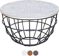 antarris couchtisch mit holz platte sägerau stylisch design wohnzimmer tisch rund ø 60x60 cm metall gestell echtholz versch farben weiß