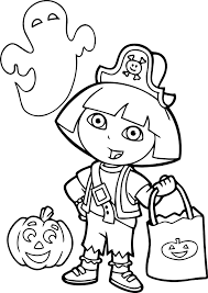 Dora Halloween Coloring Page