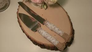 Rustic Cake Knife Burlap And Lace Wedding Serving Set