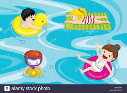 A Vector Illustration Of Kids Swimming In Pool
