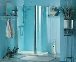 Apartment College Bathroom Decorating Ideas Sky Blue Paint Wall Color Scheme Clear Glass Shower