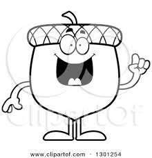 Outline Clipart of a Cartoon Black and White Happy Smart Acorn Character with an Idea Royalty Free Lineart Vector Illustration by Cory Thoman