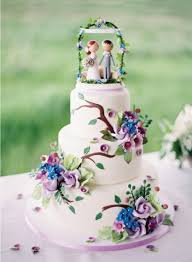 Sugar Icing Decorated Wedding Cake in Blue & Purple