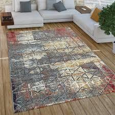 paco home wohnzimmer teppich im vintage used look