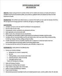 Collection Of Solutions Restorative Nursing Assistant Job Description With Template Sample