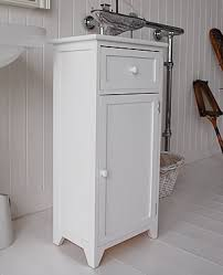 White wooden free standing bathroom cabinet