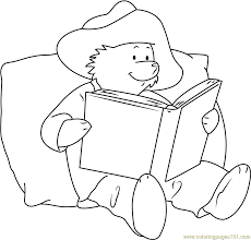 Paddington Bear Reading A Book Coloring Page