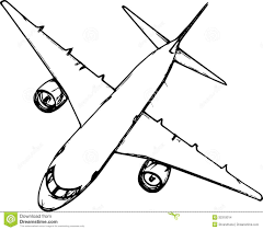 Simple Airplane Outline Drawings Sketch Coloring Page