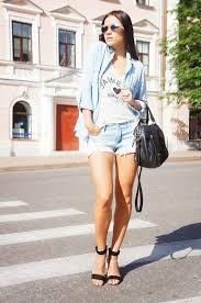 Denim Shorts And Shirt