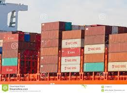 100 Shipping Containers San Francisco On The Hamburg Sud Ship Ta Barbara Editorial Stock