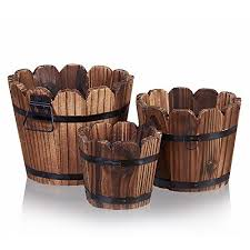 Wooden Barrel Planter HakkaGirl Vintage Flower Pots Rustic For Flowers Plants Decorative Set Of 3