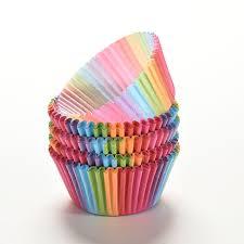 100 Pcs Bunte Regenbogen Papier Kuchen Cupcake Liner Backen Muffin Box Tasse Fall Party Tablett Form Dekorieren Werkzeuge In