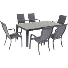 Hanover Tucson 7 Piece Aluminum Outdoor Dining Set With 6 Padded Sling Chairs And