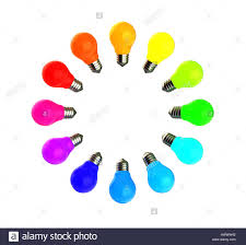 abstract 3d illustration of colorful light bulbs circle isolated