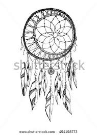 Hand Draw Rustic Dream Catcher Boho Style Vector Illustration On White Background