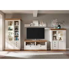 tv wohnwand in weiß und wildeichefarben landhausstil 4
