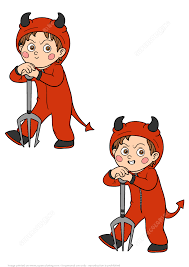 Hard Halloween Brain Teasers by Find 5 Differences A Little Boy In A Devil Halloween Costume