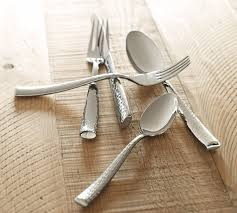 Shiny Hammered Cutlery, 5-Piece Place Setting | Pottery Barn Storage Bins Pottery Barn Metal Canvas Food Gold Flatware Set Cbaarchcom Ikea Mobileflipinfo Setting A Christmas Table With Reindeer Plates Best 25 Rustic Flatware Ideas On Pinterest White Cutlery Set Caroline Silver20 Piece Service For The One With The Catalog And Winner Yellow Woodland Fall By Spode Fall Smakglad 20piece Ikea Ideas For Easter Brunch Fashionable Hostess