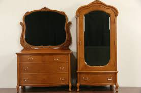 Antique Birdseye Maple Dresser With Mirror by Sold Curly Birdseye Maple 1910 Antique Armoire Wardrobe Or