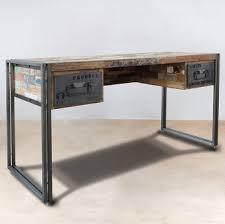 bureau design industriel bureau en bois recyclé 2 tiroirs métal