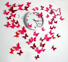 Craft Ideas For Wall Decoration With Butterflies Pink Colored Butterfly Pattern Love Shape Clock Center Paper
