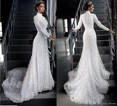 vintage modest lace wedding dresses long sleeve tradional catholic