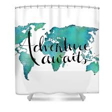 Adventure Awaits Travel Quote World Map Shower Curtain for