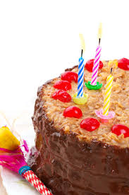 Download German Chocolate Birthday Cake With Lighted Candles Stock Image Image